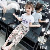 女童套裝2019夏季新款時尚超洋氣中大童短袖上衣兩件式童裝 CJ2275『易購3c館』