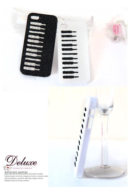 ☆Deluxe☆時尚新潮~鋼琴琴鍵燙水晶‧外殼壓凸紋iphone5專用手機殼★黑/白共兩色