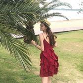 【新年鉅惠】馬爾代夫普吉島沙灘裙泰國三亞海邊度假露背顯瘦紅色連身裙女超仙