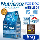PetLand寵物樂園《Nutrience紐崔斯》田園系列-成貓(鮭魚+糙米)5kg/貓飼料