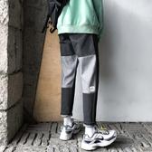 2019秋冬新款拼接個性ins水洗牛仔褲男小直筒寬鬆韓版青少年褲子