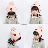 嬰幼兒保暖加厚套頭帽寶寶毛線護耳帽兒童出游卡通大毛球公主帽冬 布衣潮人