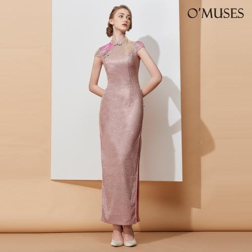 OMUSES 金蔥開岔旗袍訂製紅色長洋裝禮服
