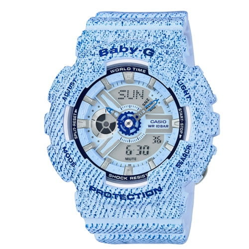 CASIO BABY-G/潮流時尚雙顯運動女錶/丹寧紋路/BA-110DC-2A3DR