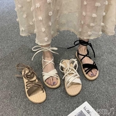 涼鞋 網紅搭配裙子的平底涼鞋女仙女風2020新款ins百搭休閒羅馬沙灘鞋潮人女鞋