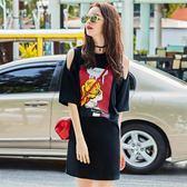 冷淡風挺版洋裝小黑裙夏季2018新品女裝漏露肩心機裙子  S-XL 【快速出貨八五折鉅惠】