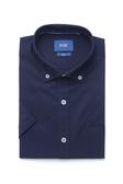 SST&C 男裝 鈕扣領藏青短袖襯衫 | 0412004002