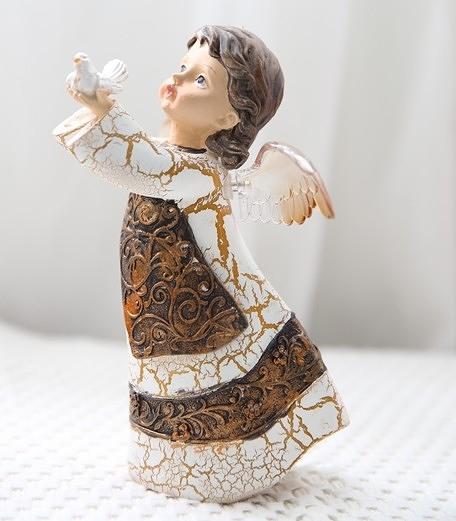 【協貿國際】複古裂紋小天使裝飾工藝品-鴿子女孩
