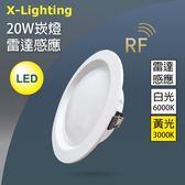 LED 20W雷達感應崁燈 白黃 無閃頻 全電壓 崁燈/筒燈X-Lighting