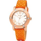 Folli Follie Donatella 璀璨水鑽亮采女錶-玫瑰金框x橘/34mm WF1B005SPS-OR