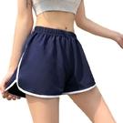 EASON SHOP(GW6303)實拍撞色白條拼接鬆緊腰真理褲收腰運動褲休閒褲女高腰短褲寬褲直筒褲熱褲棉褲