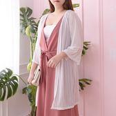 Poly Lulu 直紋路蕾絲長版罩衫外套-白【93090027】