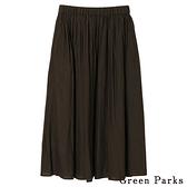 「Hot item」基本打褶素面長裙 - Green Parks