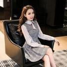 VK精品服飾 韓國風名媛修身雪紡拼接格子長袖洋裝