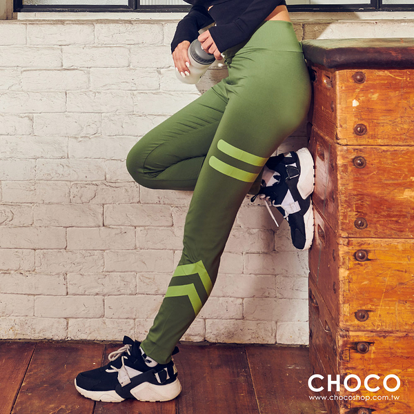 Choco Shop-全力奔放‧高彈性貼身顯長運動褲(綠色) S~XL