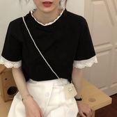 蕾絲T恤 烏77拼接蕾絲設計  簡約寬鬆白色T恤韓版短袖tee女學生夏 【新品】