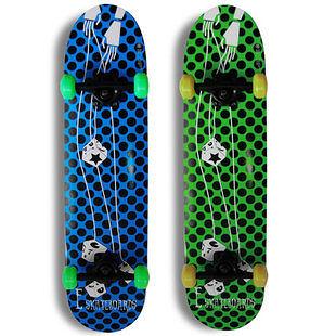 專業滑板 初級新手整板 四輪成人滑板 藍斑點