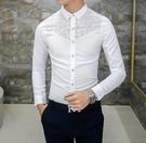 FINDSENSE品牌 男 時尚 潮 薄款 修身 蕾絲拼接 透氣 長袖襯衫 刺繡