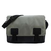 Calvin Klein 素面尼龍皮革拼接斜背包(灰色)103328-1