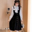 清新復古點點絲絨洋裝三件套(點點雪紡衫+絲絨吊帶裙+背心)[98922-QF]美之札