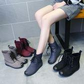 春秋雨鞋女韓國時尚短筒低筒學生中筒雨靴女成人防滑防水鞋膠套鞋 【Pink Q】