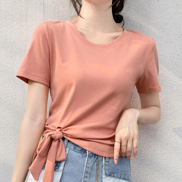 2021夏繫帶打結蝴蝶結不規則短袖T恤女修身顯瘦純色百搭圓領上衣 童趣屋