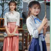 新款秋冬中國風學生裝古裝女漢服改良襦裙漢元素日常古風刺繡班服