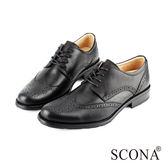 SCONA 全真皮 歐式雕花綁帶紳士鞋 黑色 0838-1