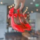 女童公主鞋 女童高跟鞋春季小公主單鞋紅色兒童皮鞋小女孩時尚演出走秀公主鞋 韓菲兒