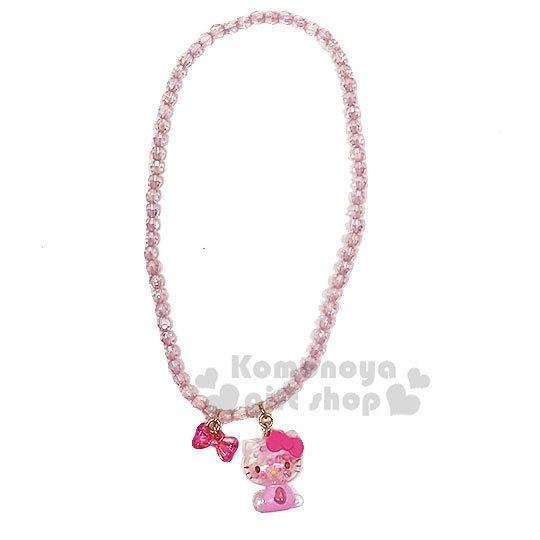 〔小禮堂〕Hello Kitty 兒童壓克力造型珠珠彈性串珠項鍊《粉白》首飾.頸鍊 4901610-97961