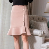 裙側邊訂鈕扣素色魚尾裙(二色M-2XL可選)-設計家 ZY015