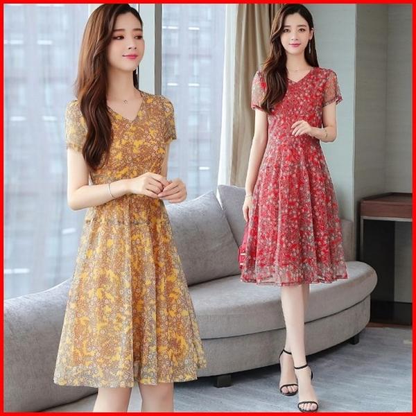 韓國風短袖洋裝 碎花收腰雪紡連衣裙流行氣質中長顯瘦連身裙 依多多