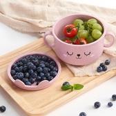 兒童碗筷小麥秸稈帶蓋碗筷套裝家用日式吃飯碗勺創意兒童餐具防摔塑料碗碟新品上新