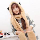 韓版冬季女士圍巾帽子手套一體保暖三件套OR1193『miss洛羽』
