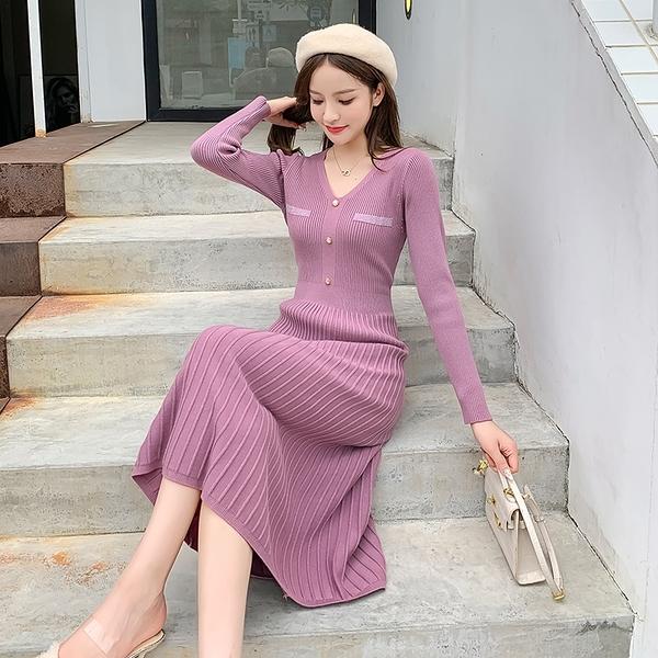 第二件5折 韓系名媛針織氣質收腰百褶優雅毛衣裙長袖洋裝