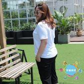 大尺碼T恤新品遮肚子大尺碼女裝T恤寬鬆短袖上衣白色打底衫夏