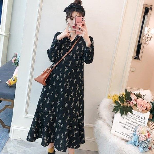 漂亮小媽咪 韓洋裝 【D3163】 過膝裙 孕婦裝 長袖 長洋裝 長裙 魚尾裙 針織毛衣