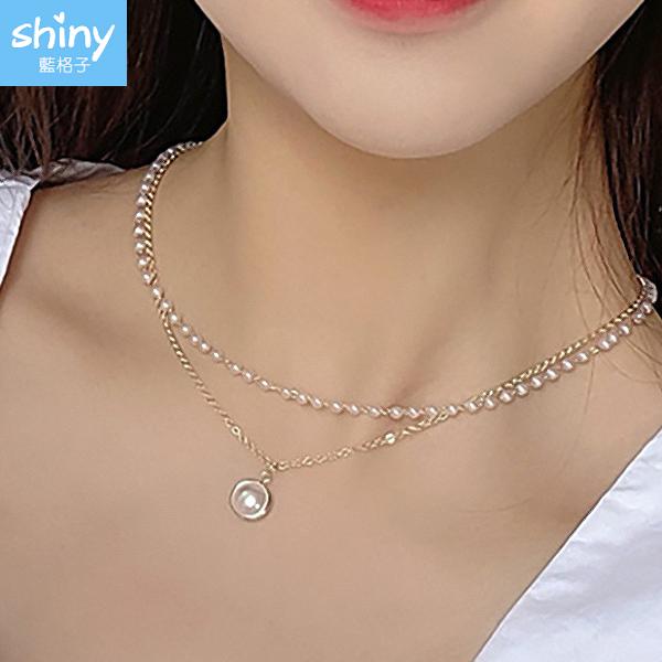 【50A60】shiny藍格子-氣質簡約.雙層珍珠鎖骨項鏈