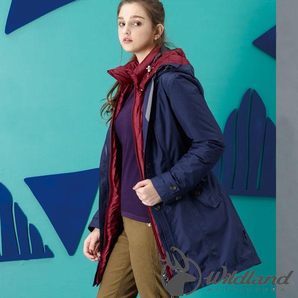 Wildland 荒野 0A32909-80藍紫色 女 長版防水功能時尚外套