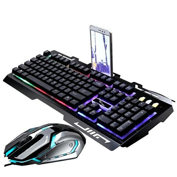 機械鍵盤 金屬發光有線USB 背光游戲鍵盤滑鼠套裝機械手感鍵盤