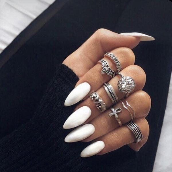 限定款光療感指甲油白色尖頭歐美暗黑社會朋克穿戴可拆卸美甲成品假指甲貼片配外套皮衣風衣