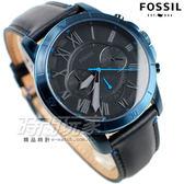 FOSSIL Grant 經典羅馬三眼計時碼錶 多功能 皮帶手錶 藍x黑色 防水錶 男錶 FS5342