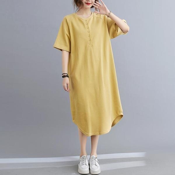 胖妹妹大碼洋裝連身裙~大碼胖mm女休閑棉T恤裙中長款套頭連身裙NE38E愛尚布衣