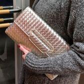 手拿包女編織紋錢包手機包手夾包個性手腕包 交換禮物