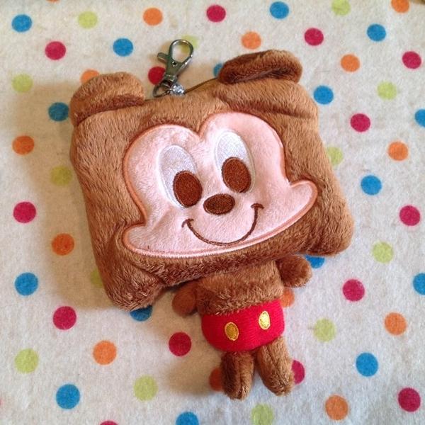 【發現。好貨】【現貨出清】迪士尼米奇方頭造型刺繡自動伸縮卡套 悠遊卡 零錢包 收納包 吊飾