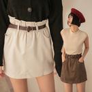 PUFII-褲裙 密絲絨花苞短裙褲裙(附皮帶)-0923 現+預 秋【CP21097】