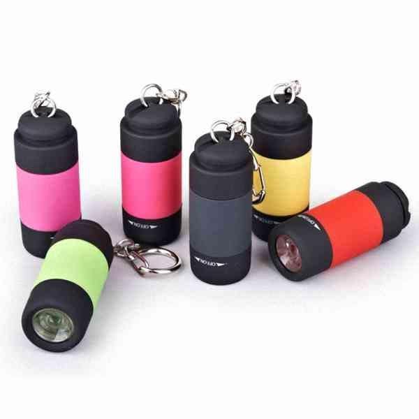 可恆亮 爆亮 迷你 USB 充電 LED 手電筒 鑰匙扣 登山扣 防水 超亮 爆亮 爬山 禮贈品 『無名』 K02111