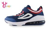 FILA 中大童 LOGO潮鞋 緩震慢跑鞋 足弓 機能升級 運動鞋 P7650#紅藍◆OSOME奧森鞋業
