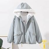 棉衣冬裝女學生加厚連帽工裝羊羔絨外套棉服【雲木雜貨】