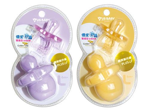 優生 US BABY 矽晶安撫奶嘴 微笑新升級-雙扁型 L (紫/橘)